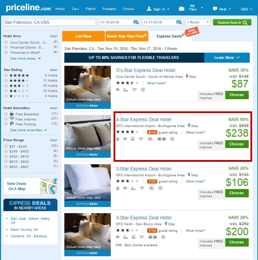 Priceline Express Deals aren't always your best deal, but 3 out of 5 trips it is how I book my hotels. Saving money and staying is luxury accommodations. If you're looking for ideas, take a look at my City Guides. For hotels, I find on Priceline Express Deals I always make a note so you know to look for them. Most properties repeatedly use this system so you'll get to know which ones you can find good deals for.