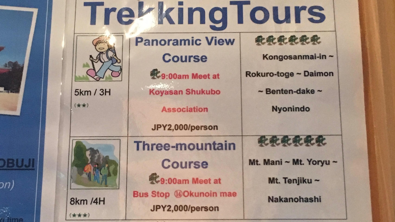 Trekking tour menu
